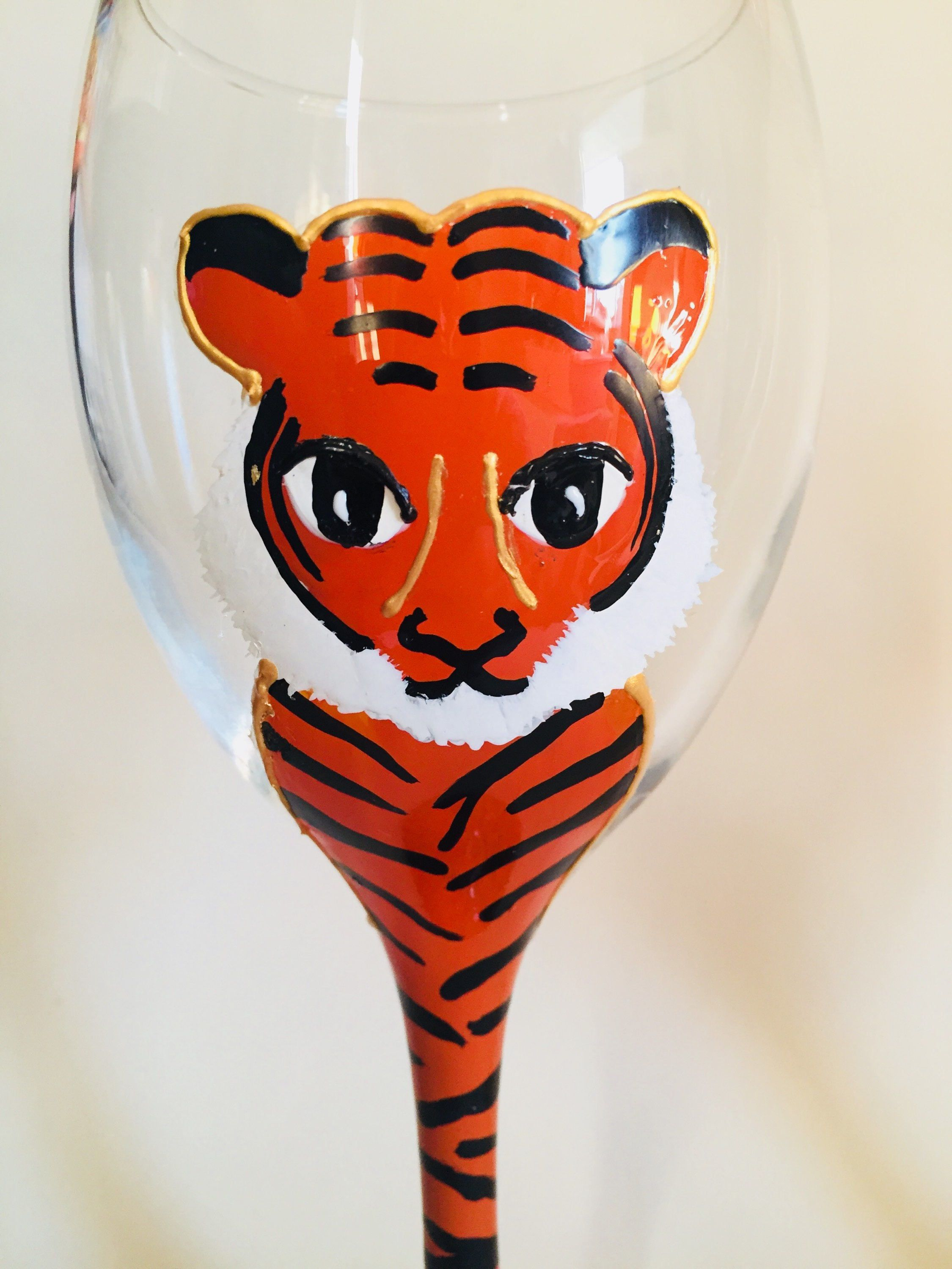 Handpainted Tiger Wine Glass Can Be Personalised Wine Glass Glass Etsy
