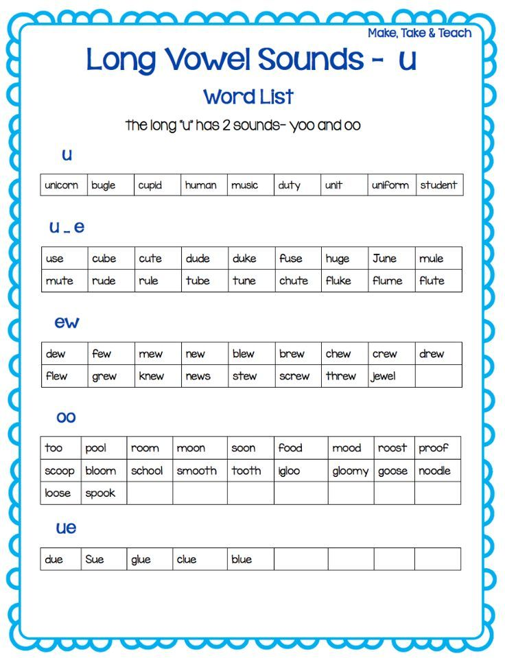 long u word list