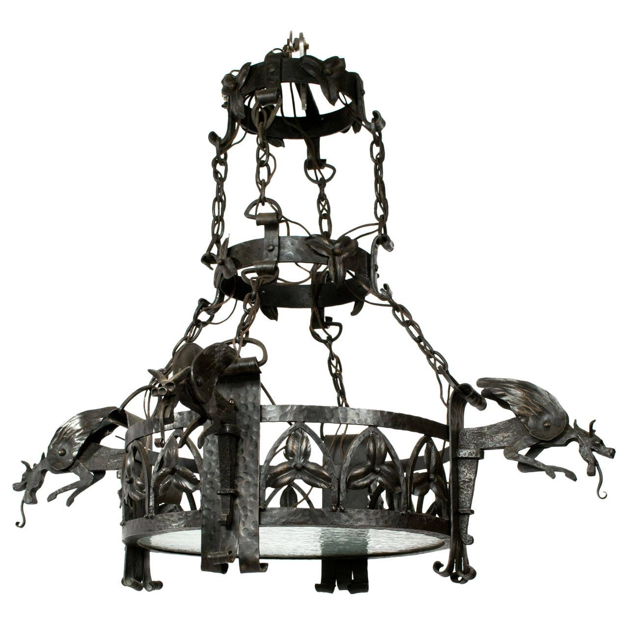 French wrought iron arts and crafts chandelier with dragons iron french wrought iron arts and crafts chandelier with dragons 1stdibs arubaitofo Choice Image