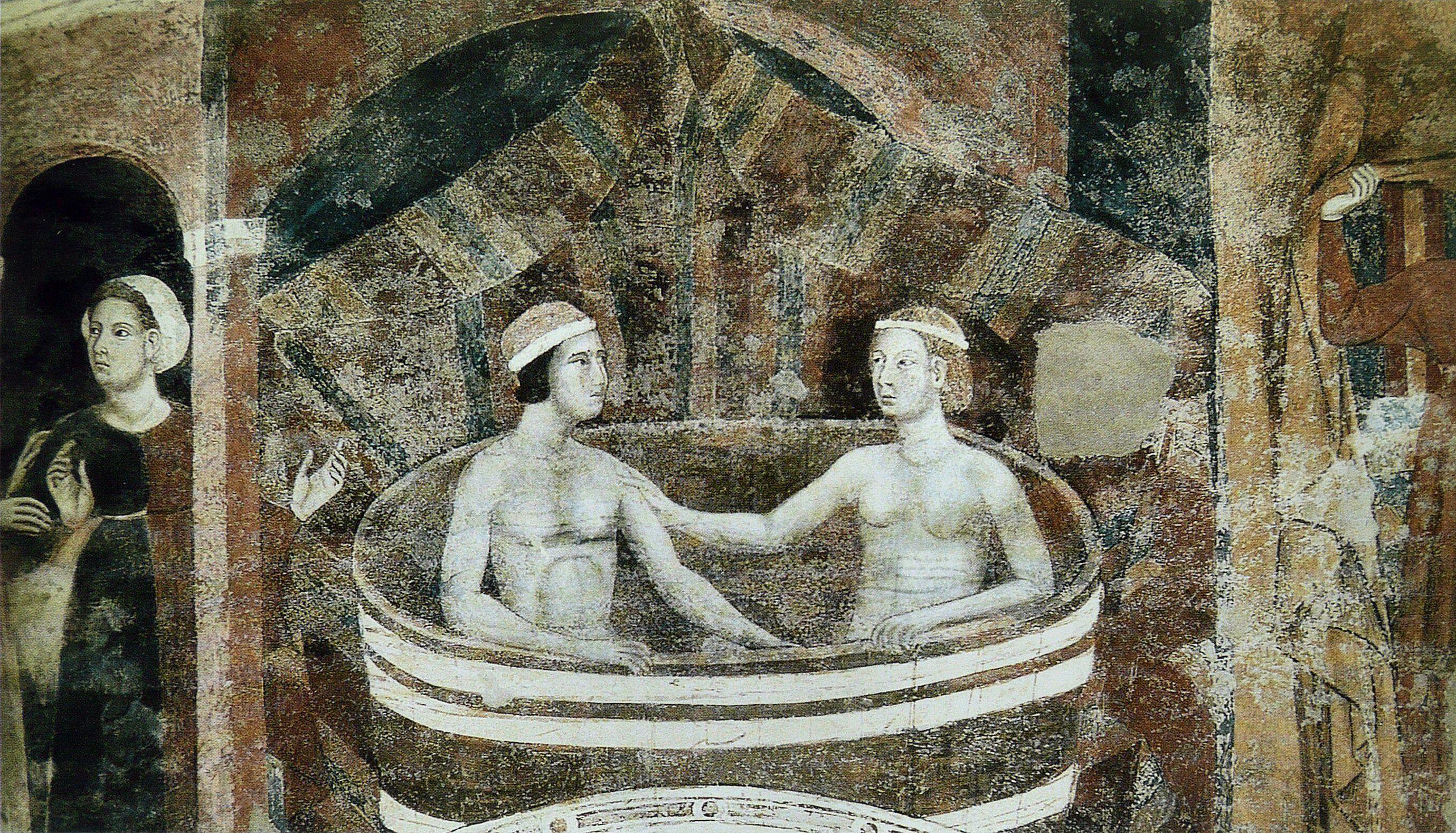 memmo di filippuccio - il bagno ( 1315 circa ) - palazzo del popolo di san gimignano