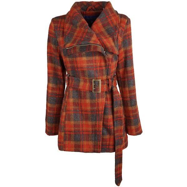 Steve Madden Womens Wool Look Plaid Belted Classic Dress Pea Coat... ($85