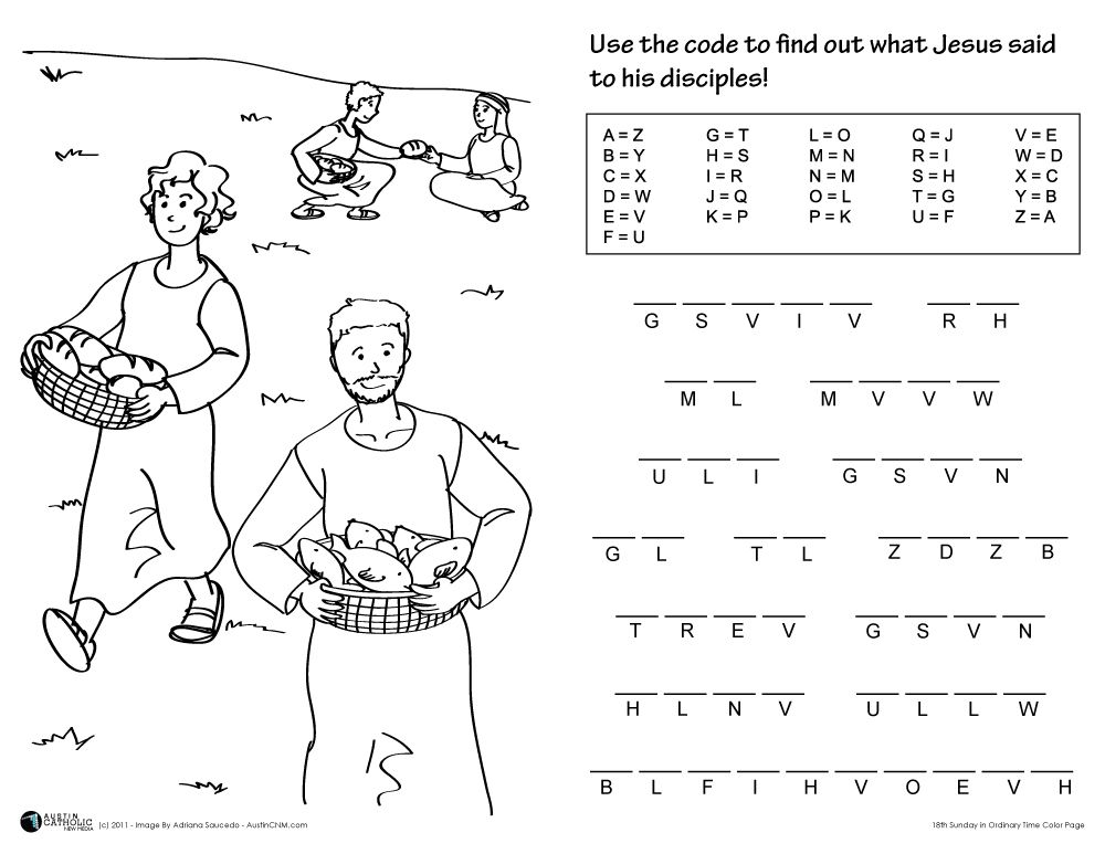worksheets about jesuss love 18th sunday in ordinary time color
