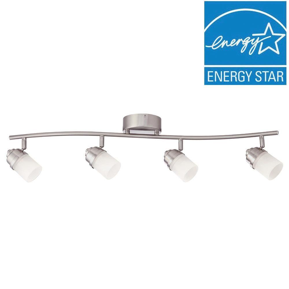 Envirolite 3 ft brushed nickel led track lighting kit with 4 led brushed nickel led track lighting kit with 4 led track lights aloadofball Choice Image