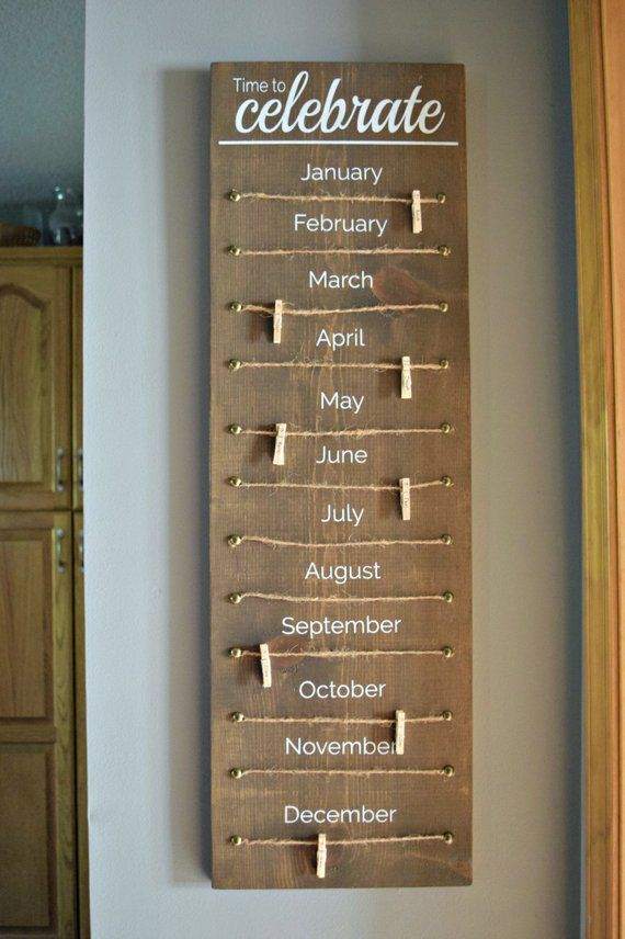 Family Celebration Wood Sign, Family Birthday Wood Sign, Classroom Birthday Tracker Wood Sign - #Birthday #Celebration #Classroom #family #Sign #Tracker #wood #stainedwood