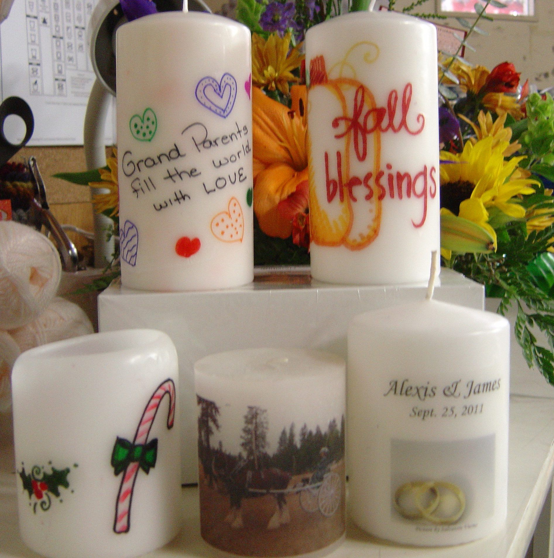 Draw image on tissue paper place on candle wrap with wax for Drawing on wax paper