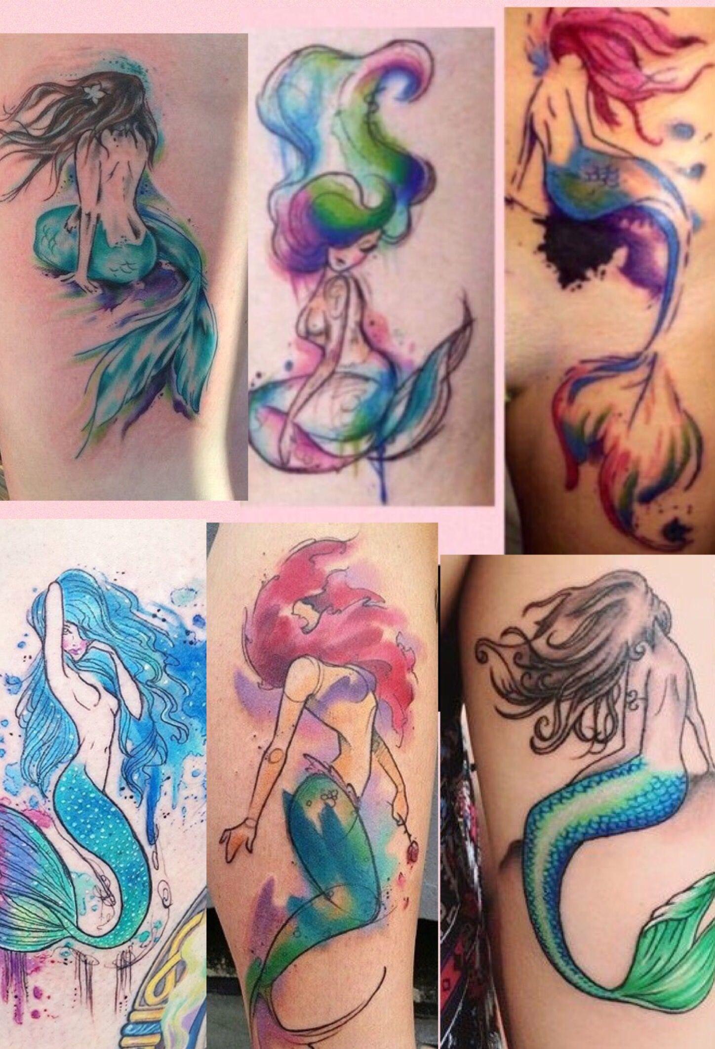 Watercolor Mermaid Tattoo Ideas I Love Aquarell Meerjungfrau