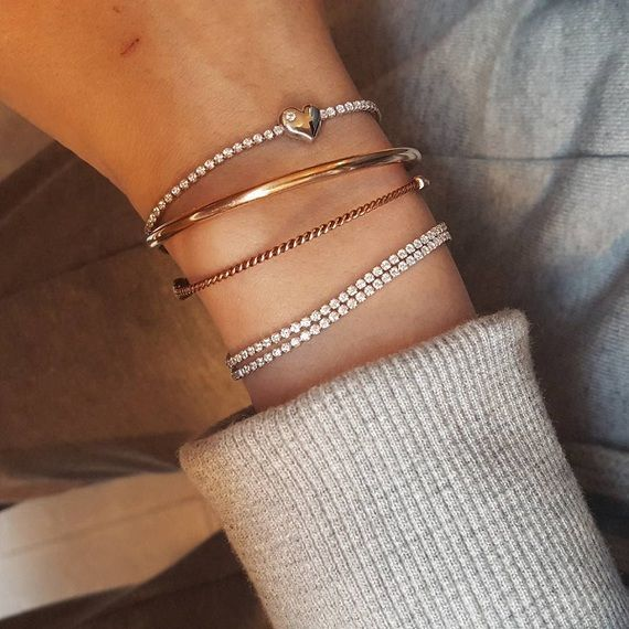 Signity Stone Heart Tennis Bracelet Sterling Silver Gold Bangle Bracelet Simple Gold Bangle Jewelry Bracelets Gold