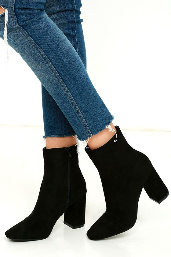 4a99808e029 Look forward to the amazing outfits that await you in the My Generation  Black Suede High Heel Mid-Calf Boots! A squared-off toe meets a…