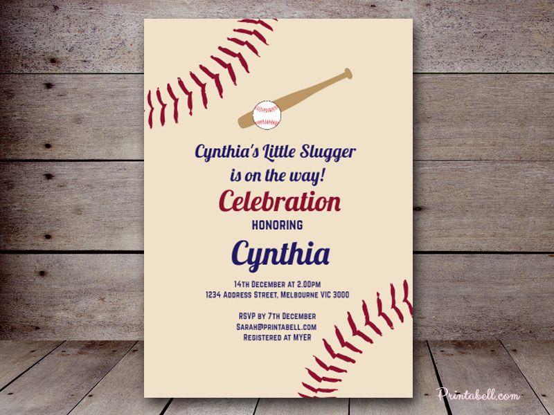 Editable Vintage Baseball Baby Shower Invitation