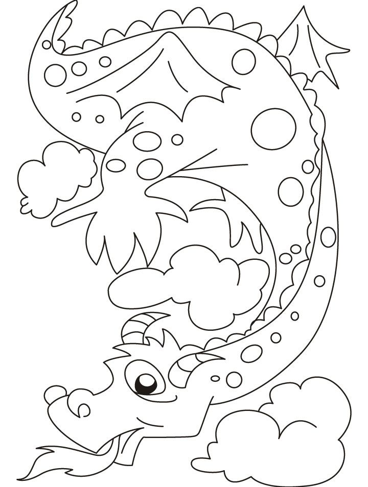 The fire emitting dragon bewares of it coloring pages | Coloring ...