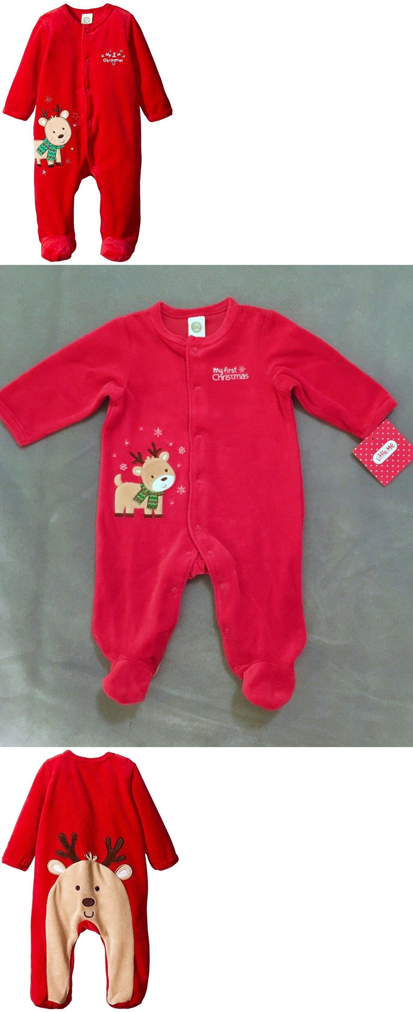 78736c6a6 Sleepwear 163400: Nwt Infant Little Me Red Velour My First Christmas Sleeper  Sleep And Play