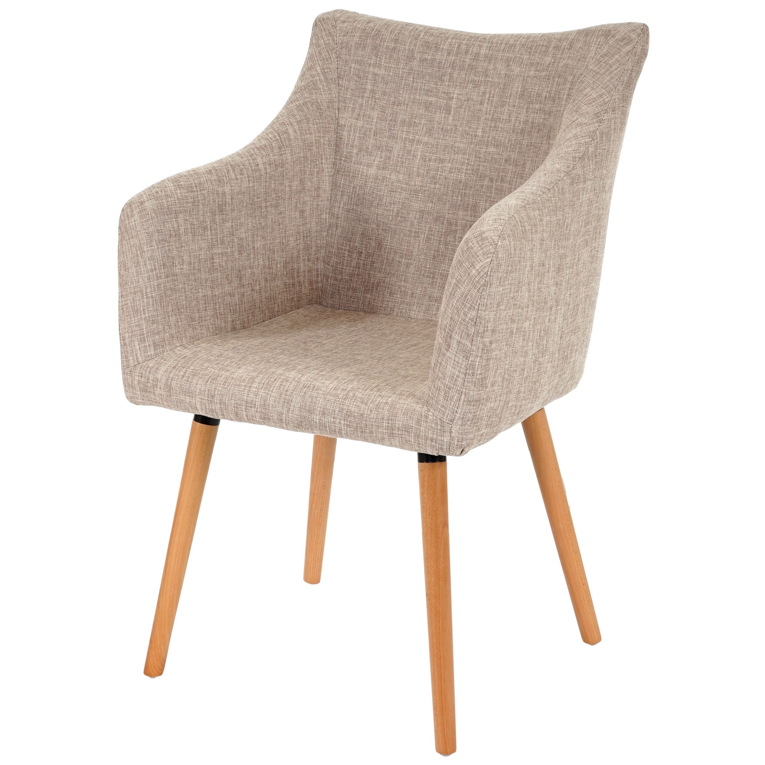 Esszimmerstuhl Malmo T382 Stuhl Lehnstuhl Retro 50er Jahre Design Textil Creme Grau