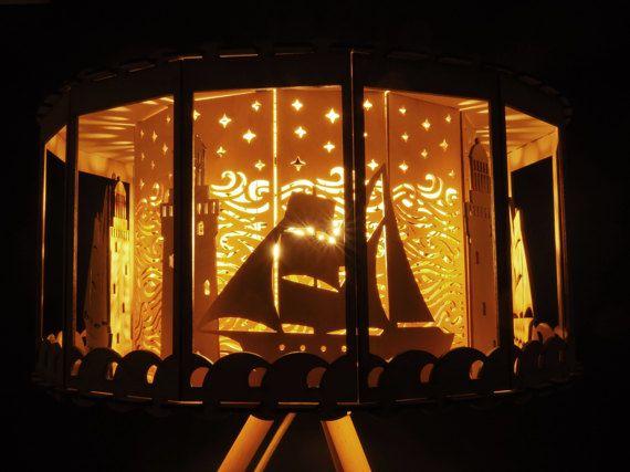 Nautical Decor Carousel Table Lamp Baby Shower Gift Idea Lamp DIY For  Nursery Room Lighting Lighthouse Decor