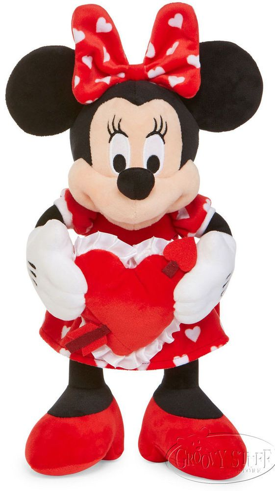9e6710e56d5 Disney Minnie Mouse with Red Dress and Heart Stuffed Plush Doll Valentine  NEW  Disney