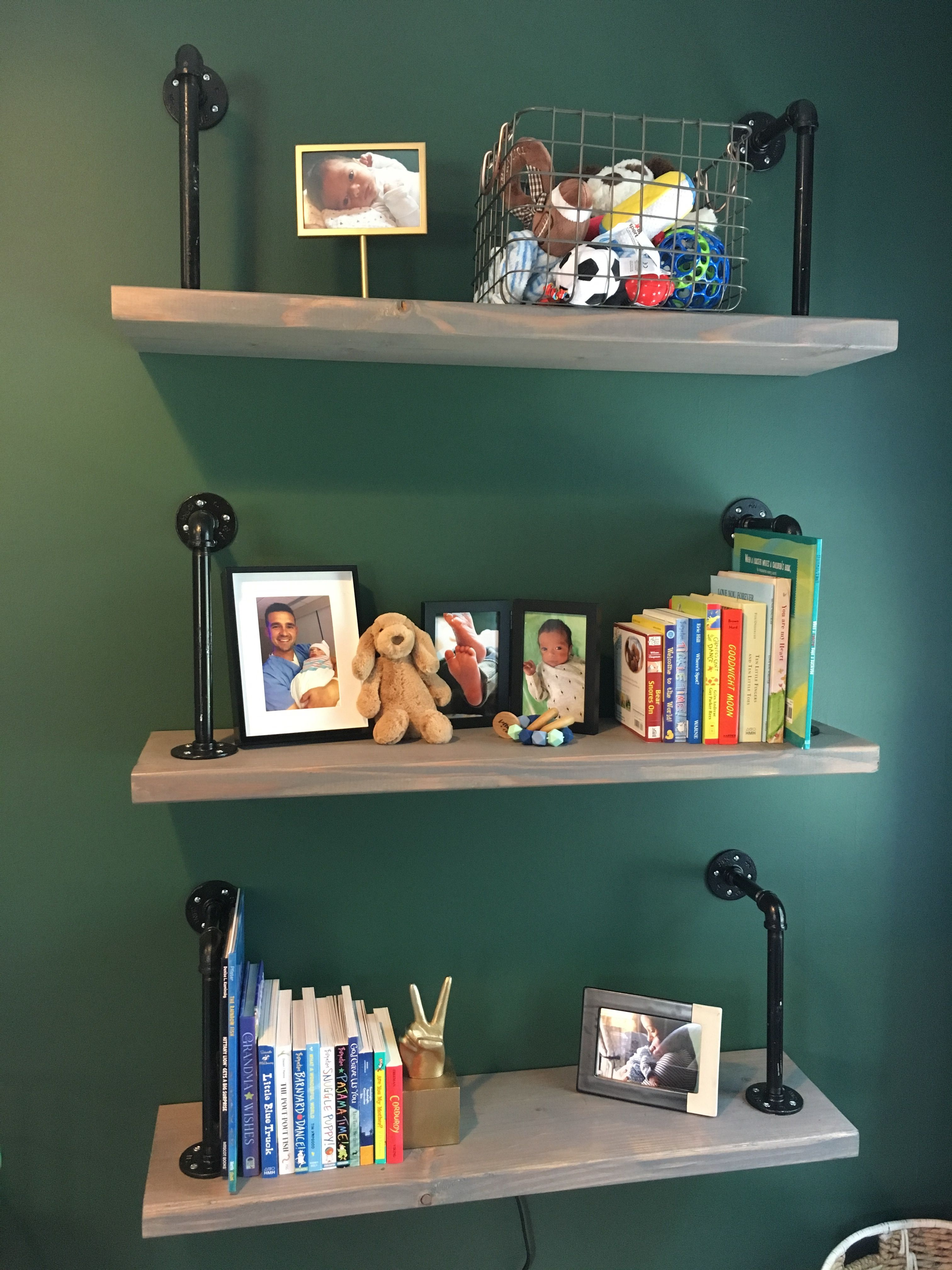 Boy Nursery Hunter Green Behr Paint Shelves Made From Wood Grey Stain And Spray Painted Pipes Home Depot Metal Basket Picture Frames Bookend