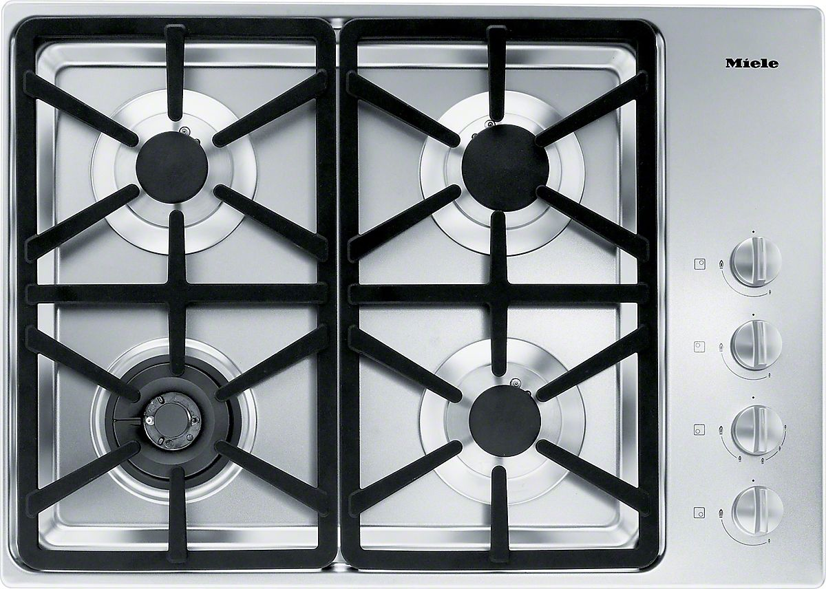 KM 3464 G Gas cooktop with a dual wok burner for