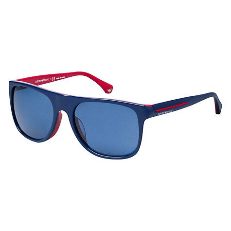 6b133546f514 Buy Emporio Armani EA4014 510380 Square Acetate Frame Sunglasses, Blue/Red  Online at johnlewis.com