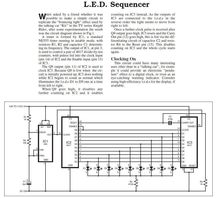 Led Sequencer Simple Circuit Circuit Diagram Circuit