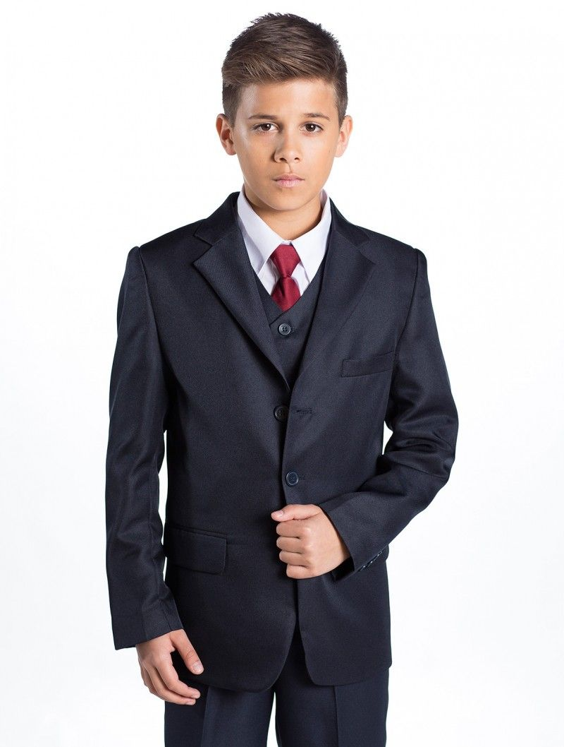 Boys Navy Blue Slim Fit Suit Kids Prom Wedding Pageboy 6 Piece Suits Age 1 to 15