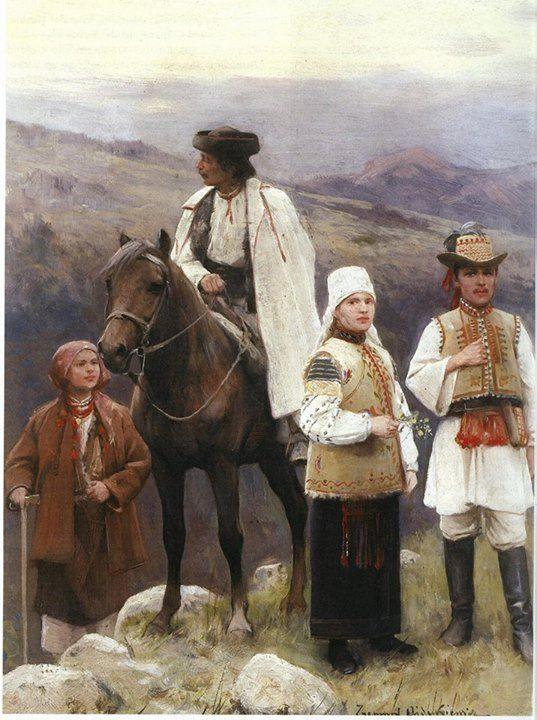 Зигмунт Айдукевич - Гуцулка, гуцул верхи, рутенка (українка) і румун з Буковини, кінець ХІХ ст.
