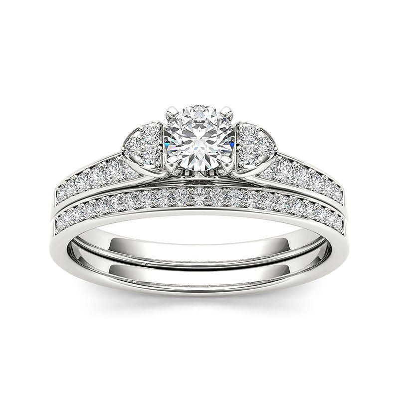 1 2 Ct T W Diamond 10k White Gold Bridal Set Ring Bridal Ring Sets Gold Engagement Rings Engagement Ring Settings