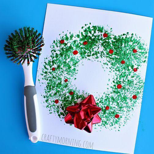 Dish Brush Christmas Wreath Craft For Kids   Crafty Morning