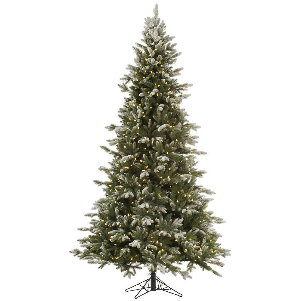Frosted Slim Christmas Tree: 9 Ft. Balsam Frosted Pre-lit Slim Artificial Christmas