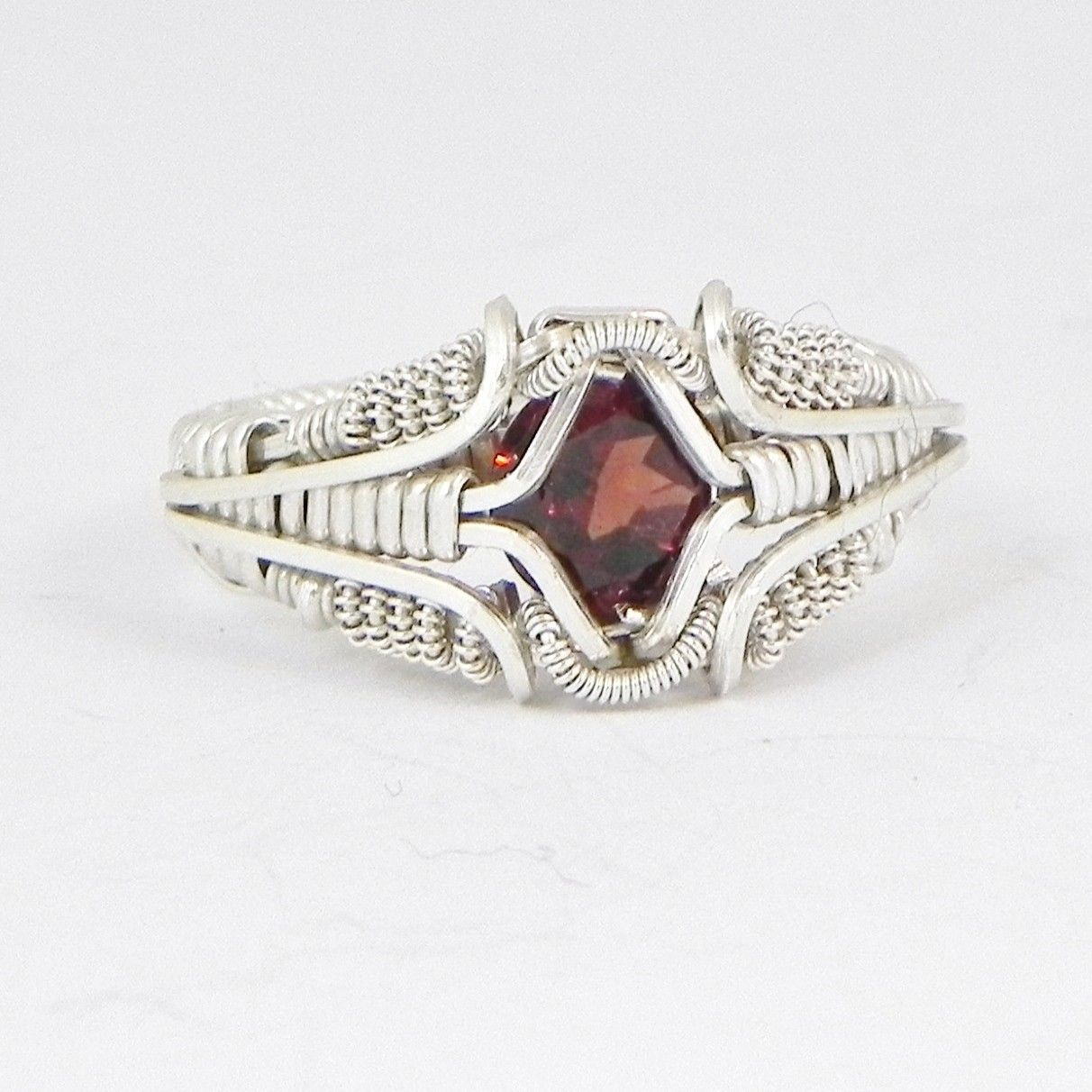 Garnet Gemstones Wire Wrapped Ring Silver Handmade Fair Trade USA ...