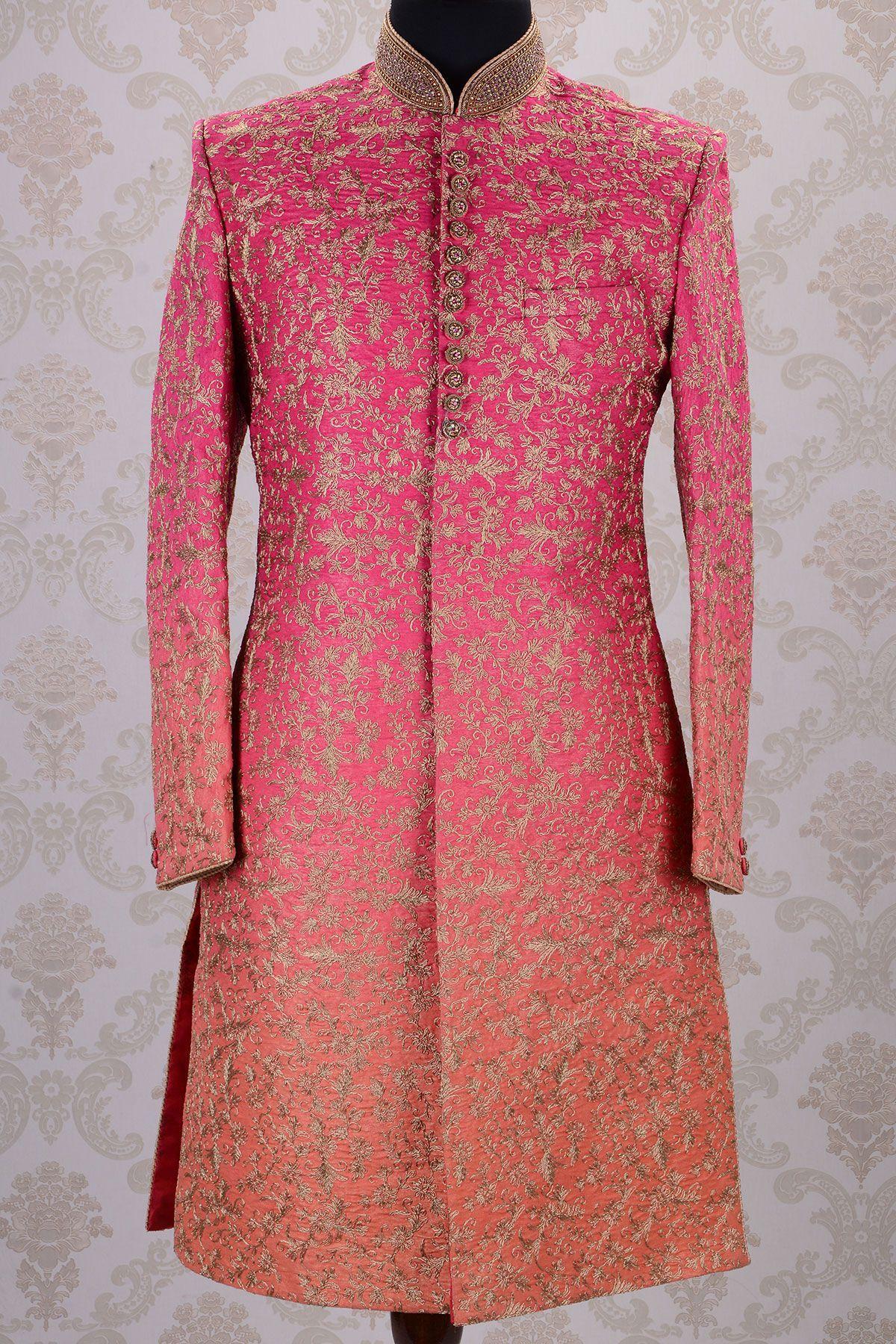 Wedding Sherwani-Shaded Pink & Orange-Zari Work-SH275   traditional ...