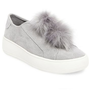 Enjoy modern style with the Women's Rosemary Faux Fur Pom Slip On Sneakers  - Mossimo Supply Co. These women's shoes slip on with a rubber sole for  support ...