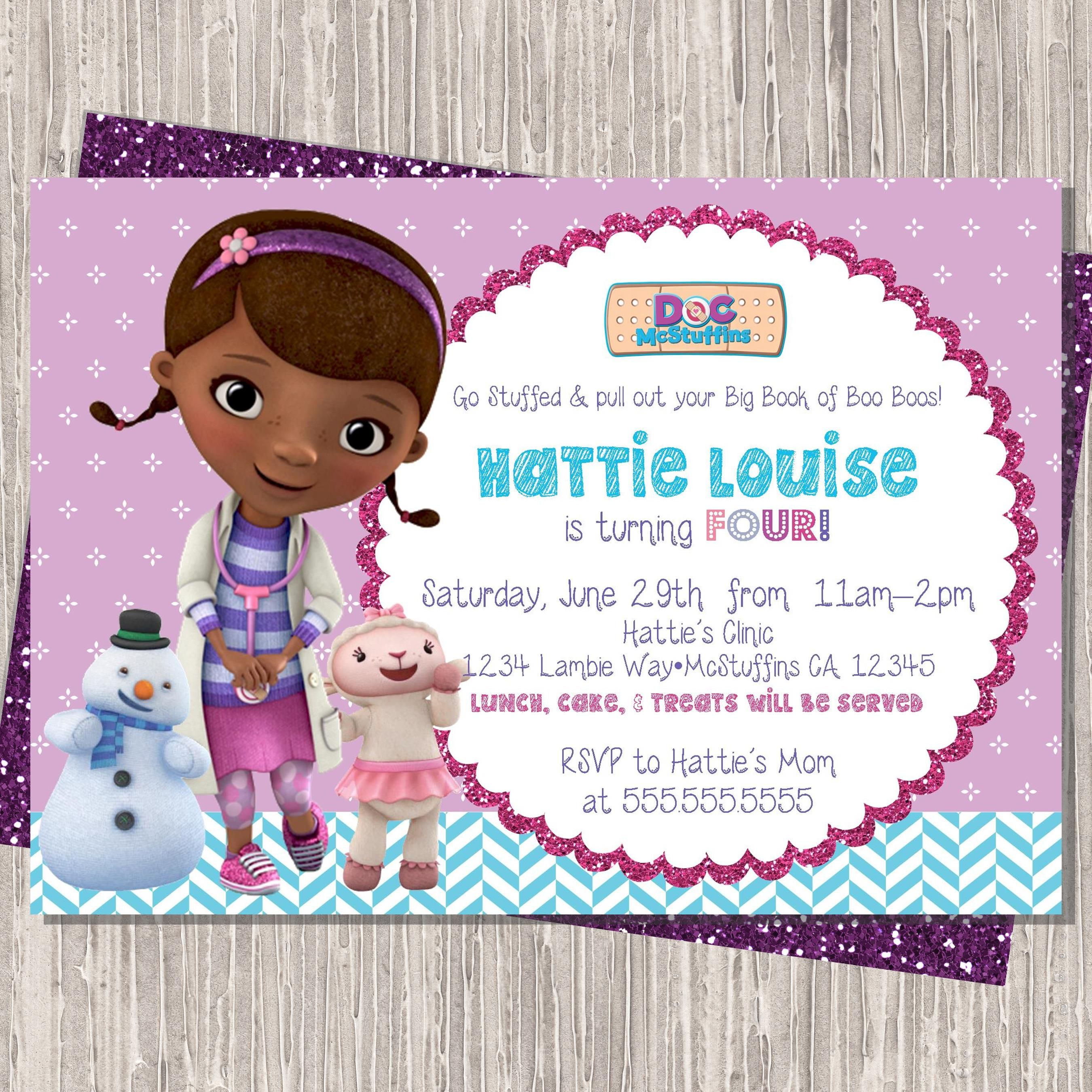 Doc McStuffins Birthday Invitation 5x7 Printable Design 5th Party Ideas 1st Girls