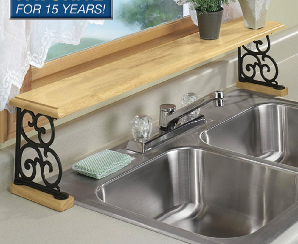 Solid Wood Iron Kitchen Bathroom Counter Over The Sink Shelf