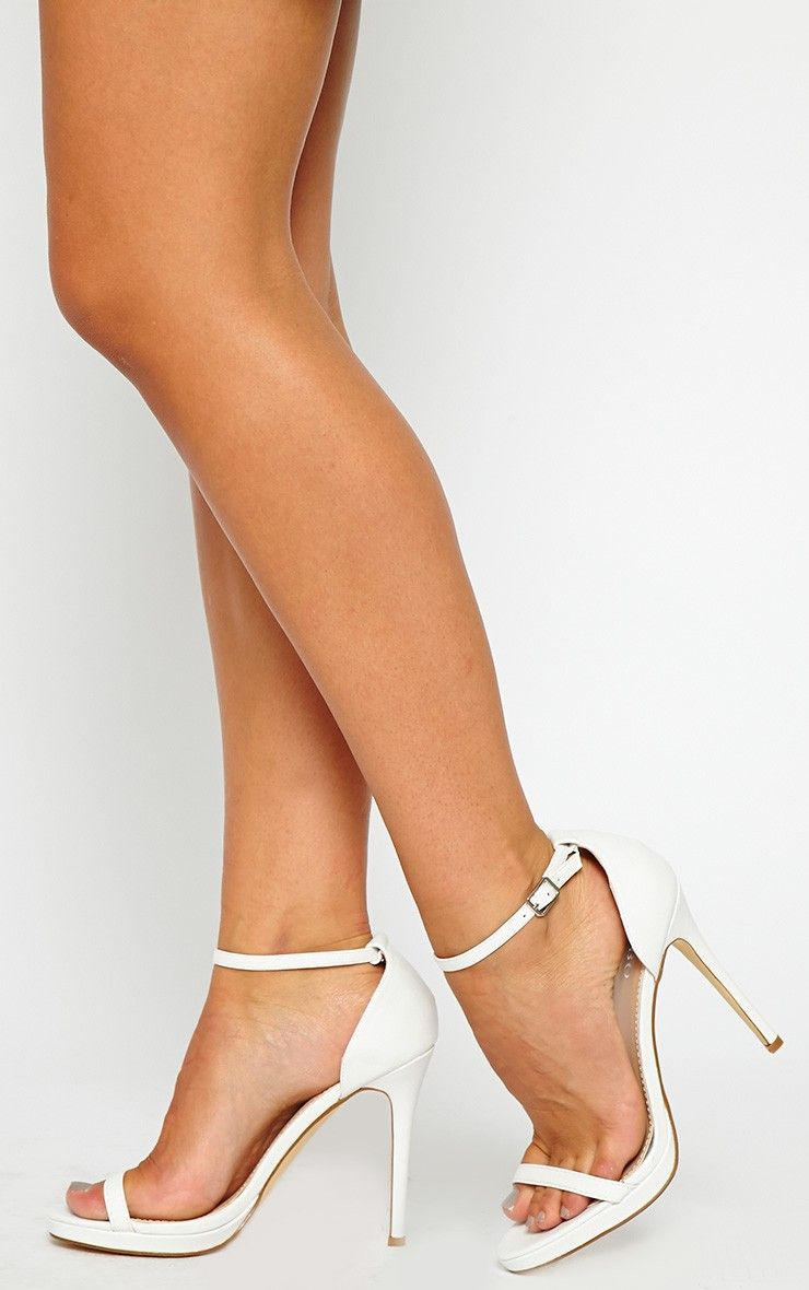 Enna White Single Strap Heeled Sandals