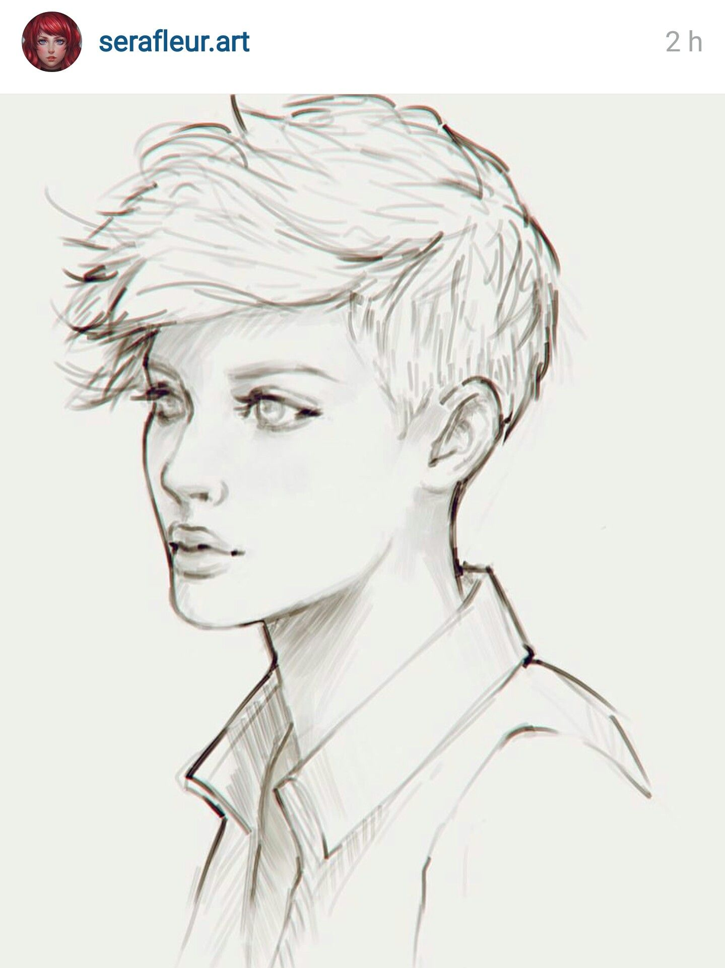 Pin By Gabby On Art Projects Short Hair Drawing Girl Drawing Sketches Hair Sketch