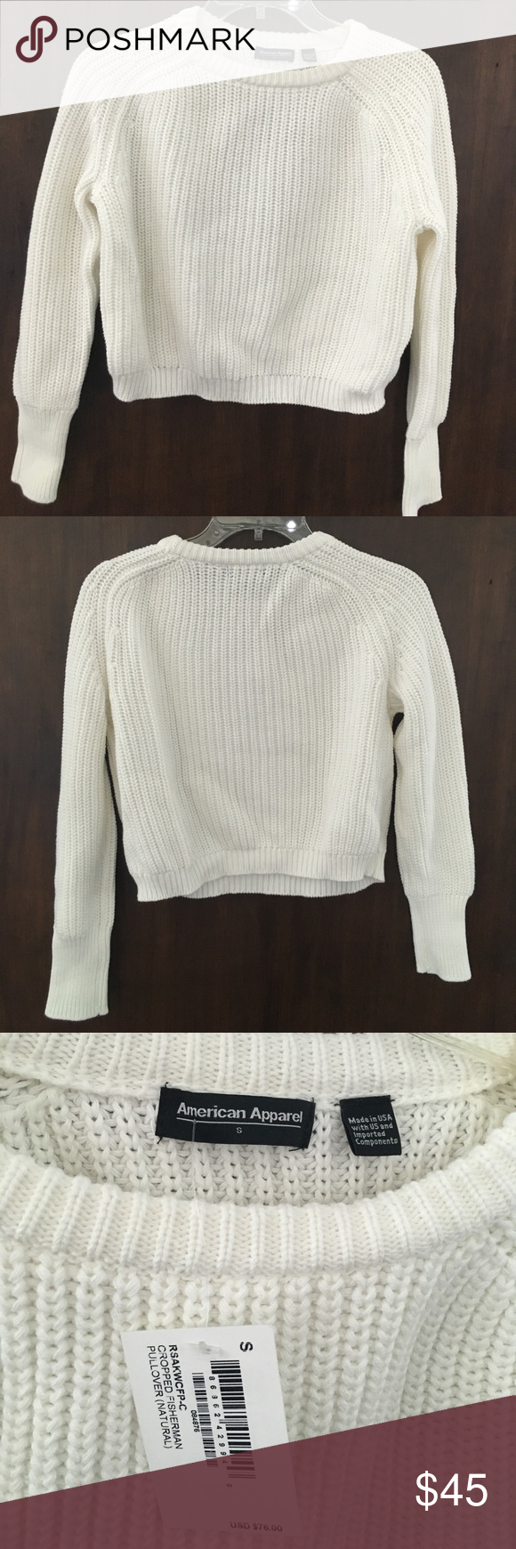 American Apparel White Crop Sweater NWT Off-White knit long-sleeve ...