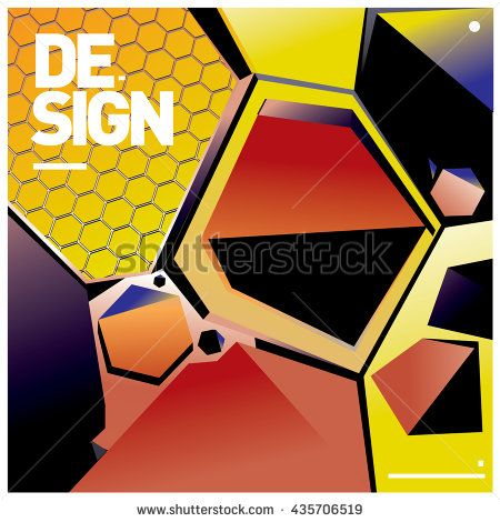 Vector Illustration Modern colorful background material design with hexagon shape - stock vector