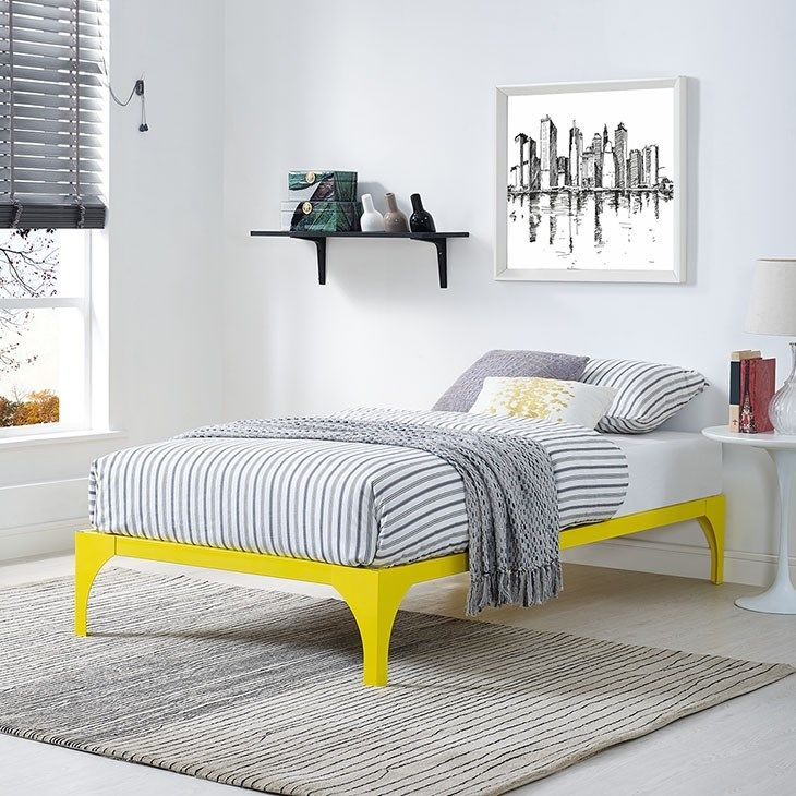 LexMod Ollie Twin Bed Frame in Yellow Bed frame, Metal