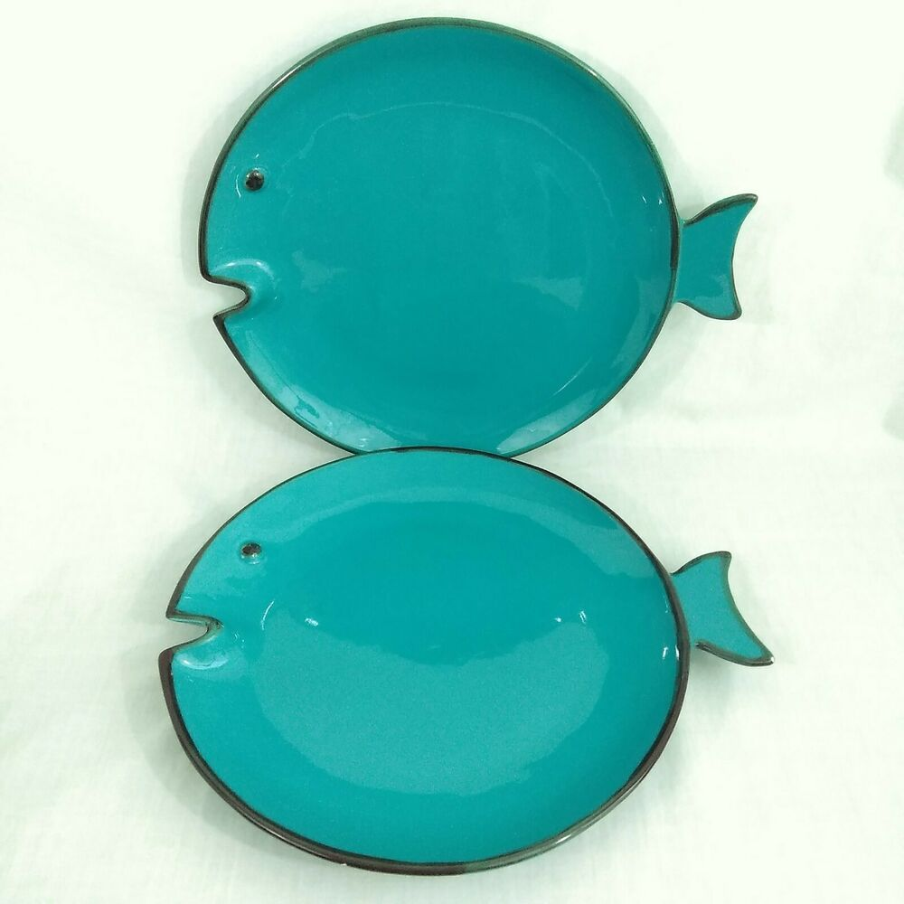 Details About Italica Ars Pottery Fish Shaped Dinner Plate Set Of 2 Turquoise Italy 11 Inches Dinner Plate Sets Fish Shapes Plate Sets