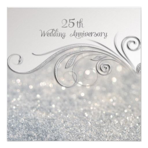 25th Wedding Anniversary Quotes: Sparkle Silver 25th Wedding Anniversary Invitation