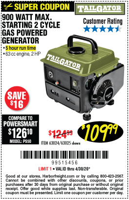 Tailgator 900 Watt Max Starting 2 Cycle Gas Powered Generator For 109 99 In 2020 Power Generator Gas Powered Generator Harbor Freight Tools