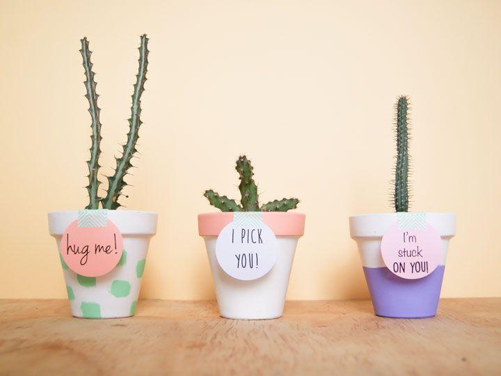 diy: macetas decoradas para regalar en san valentin | la amistad