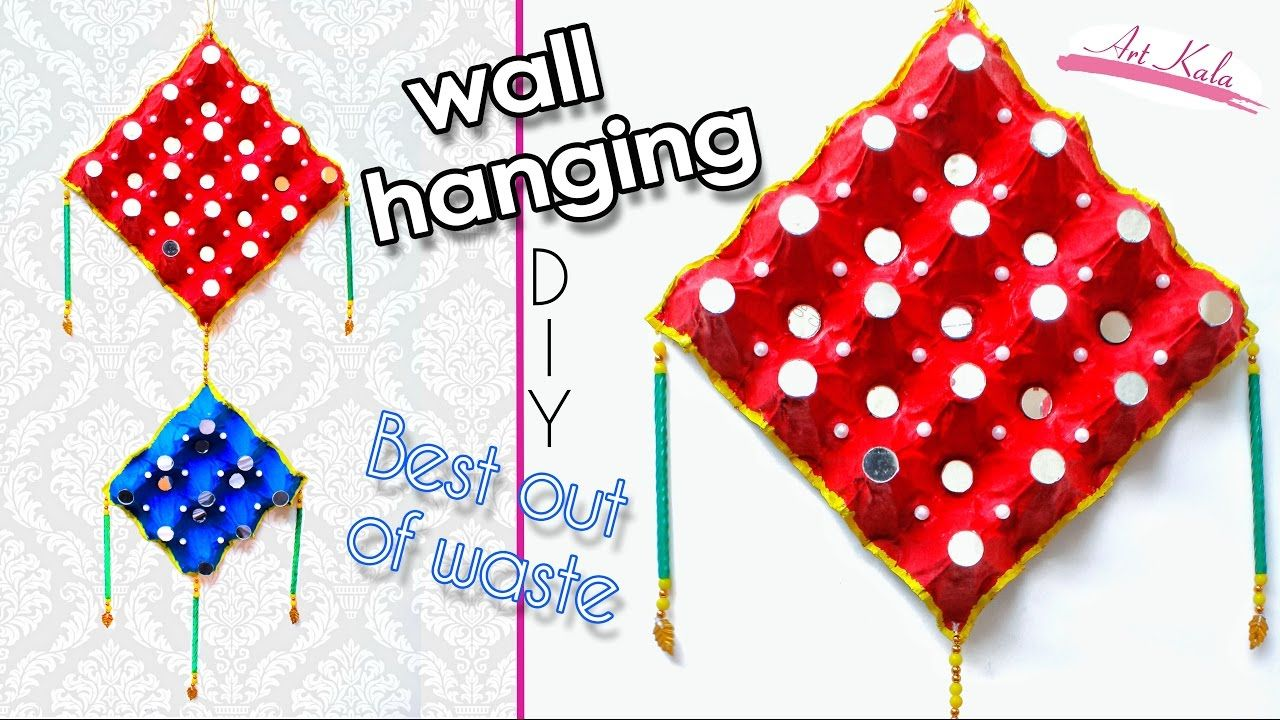 How to make wall hanging from waste egg tray wall art for Egg tray craft ideas