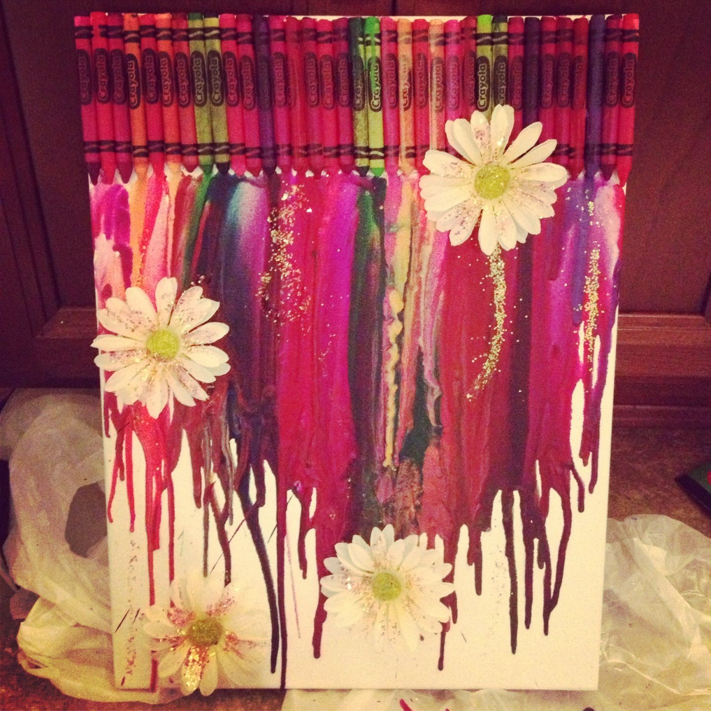 Crayon art. Added flowers with hot glue gun and used a ...