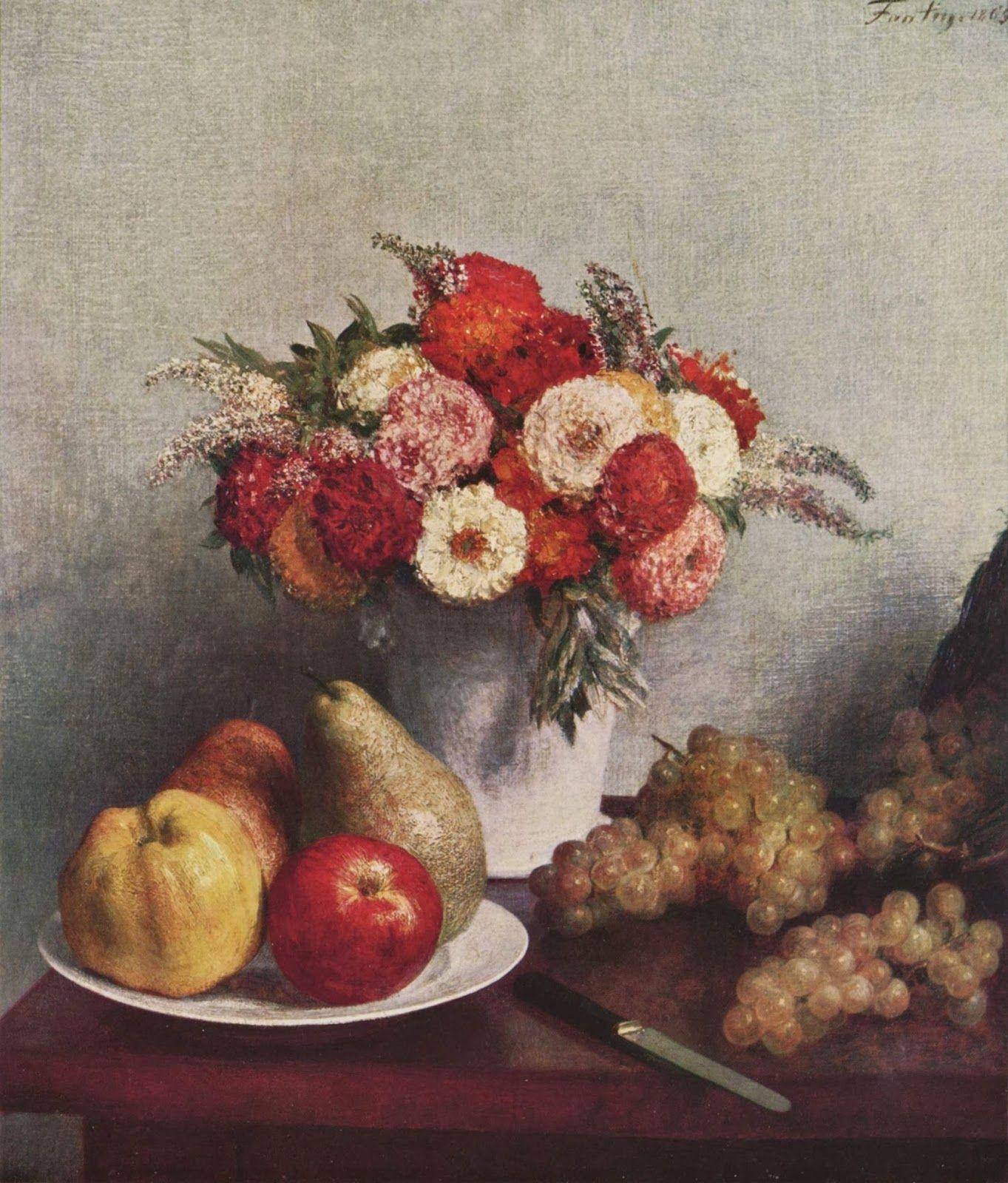 Flowers and Fruits 1865  Fantin Latour( tension plástica)