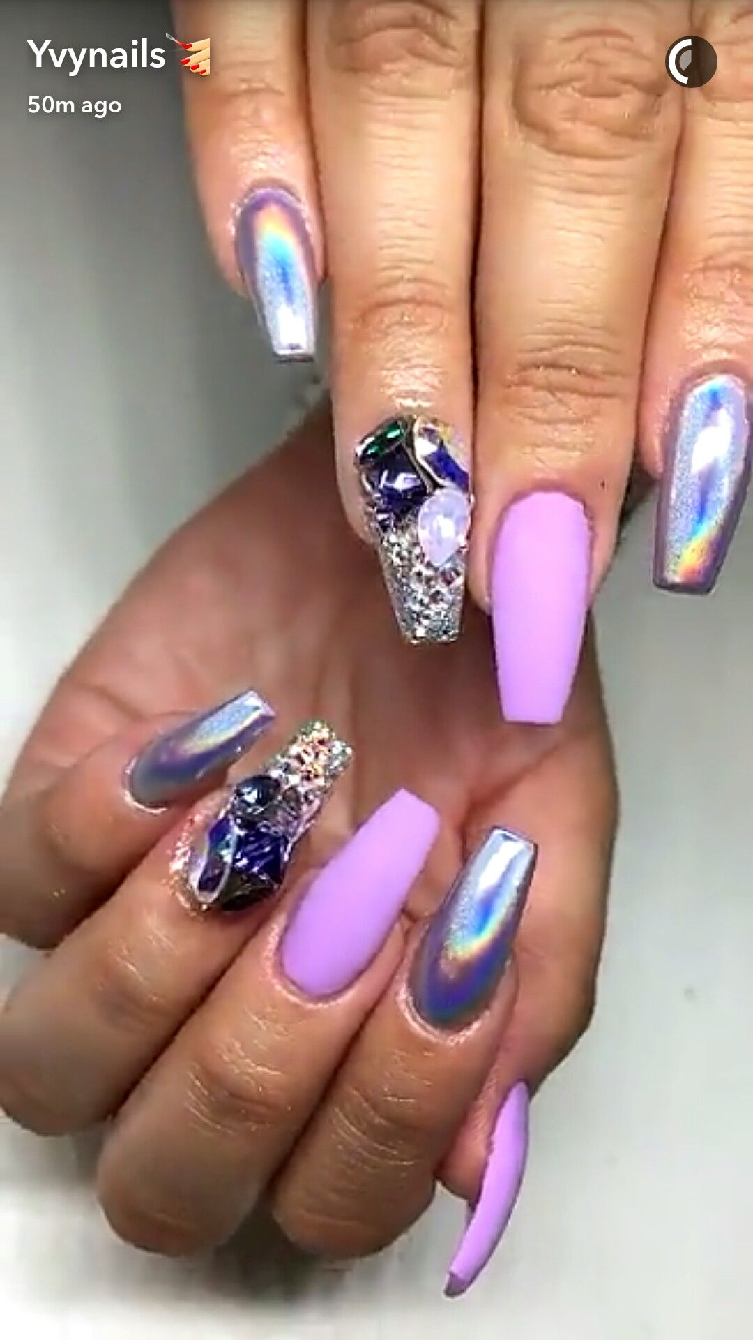 Pink purple nails chrome nails with rhinestones | Purple ...
