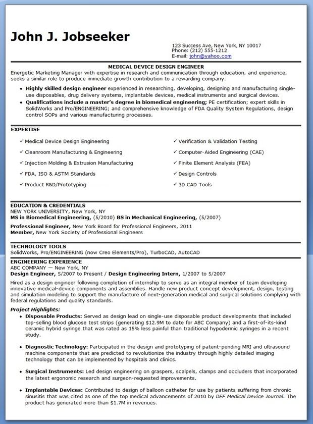 Medical Equipment Engineer Sample Resume Simple Design Engineer Resume Examples Experienced  Creative Resume .