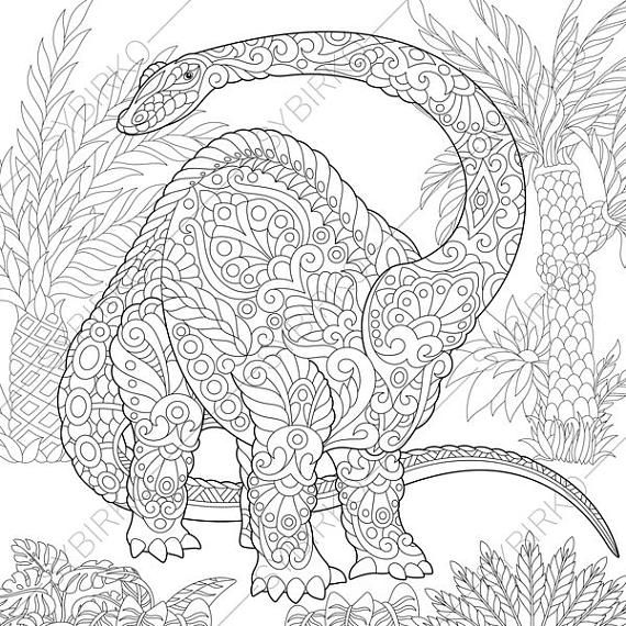 Coloring Pages For Adults. Brontosaurus Diplodocus Dinosaur. Etsy Dinosaur  Coloring Pages, Dinosaur Coloring Sheets, Detailed Coloring Pages