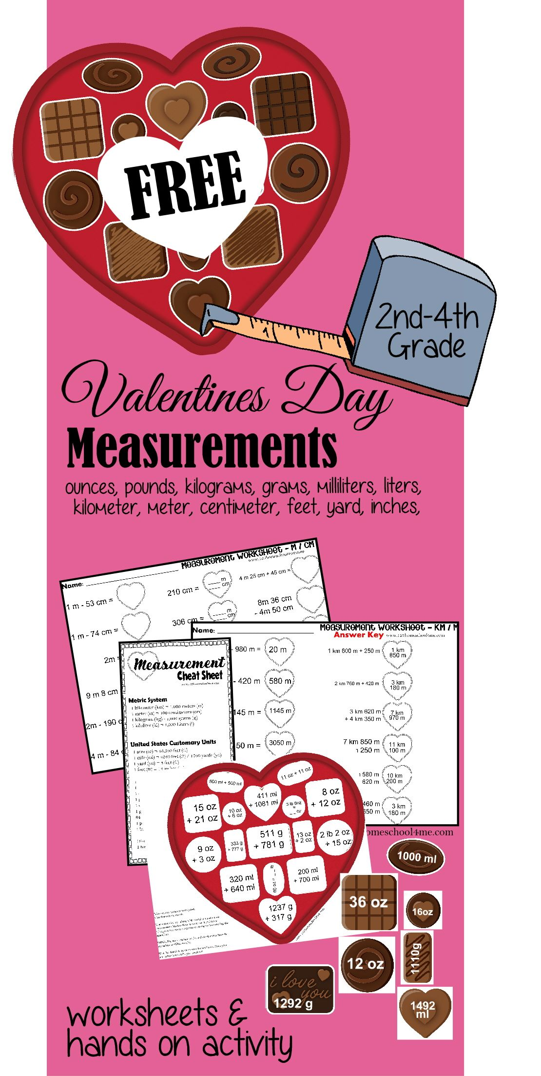 Free Valentines Day Measurement Worksheets For 2nd 5th