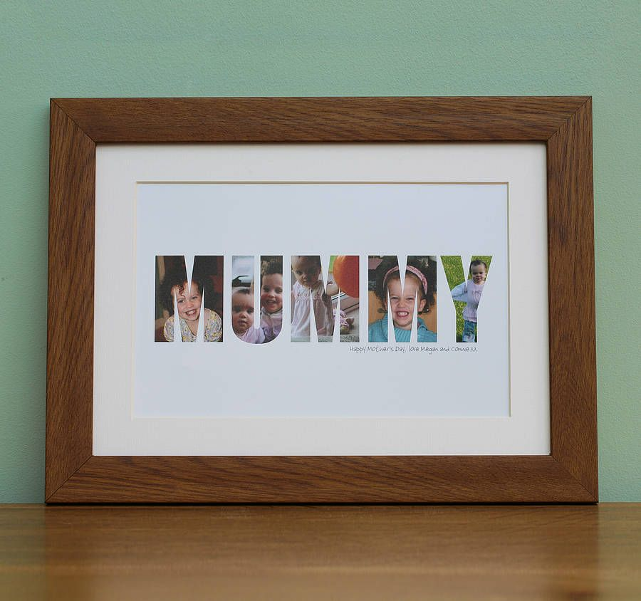 personalised framed 'mummy' photograph print by imagine photowords & craft kits | notonthehighstreet.com