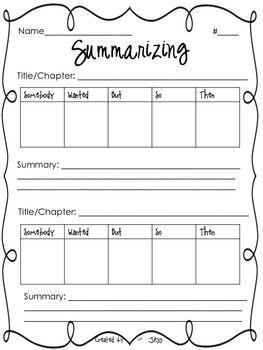 Summarizing Worksheet Summarizing Worksheet Mentor Texts Reading Classroom